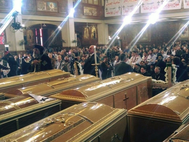 Celebrating a funeral for victims of 11.12.2016 bomb attack in Coptic church in Cairo